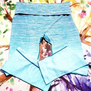 Yelete XL Yoga Stretch Pants Teal Ombre NWOT
